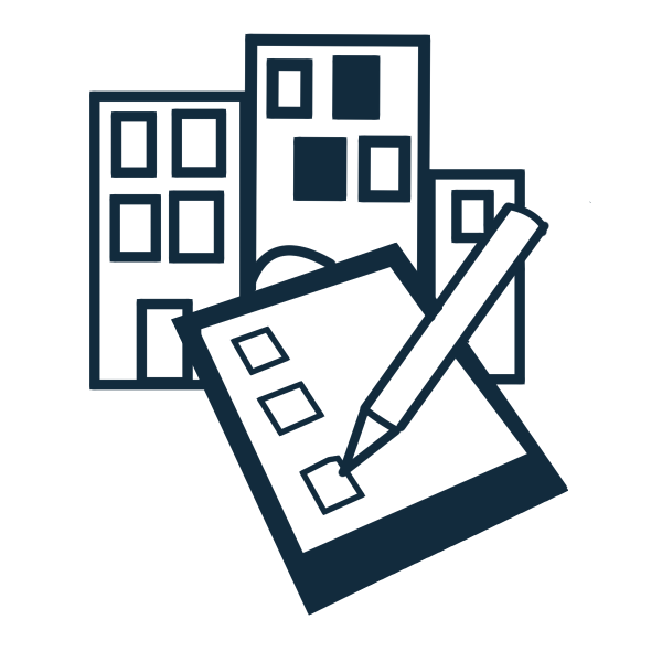 Illustration of 3 buildings with a clipboard and a pencil imposed over the 3 buildings