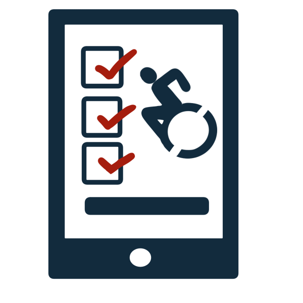 Illustration of a tablet featuring 3 squares each with a red check mark and an accessibility icon of a person using a wheelchair