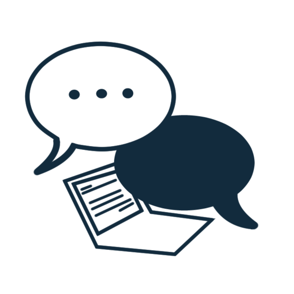 consultation icon illustratio in blue of two speech bubbles over a laptop, one speech bubble is solid blue, the other is white indicating someone is typing a comment